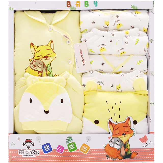 2019 Newborn Thick Baby Girl Clothes Autumn Color Gift Box Set Thick Cotton Character Fox Baby Boy Clothes without Giftbox