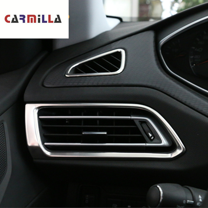 4Pcs/Set Car Air Vent Outlet Sticker for <font><b>Peugeot</b></font> <font><b>308</b></font> 308s <font><b>2015</b></font> - 2019 2th T9 <font><b>SW</b></font> Front Air Conditioning AC Outlet Cover Trim image
