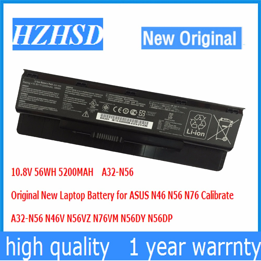 10.8V 56WH 5200MAH Original New A32-N56 Laptop Battery for ASUS N46 N56 N76 Calibrate N46V N56VZ N76VM N56DY N56DP