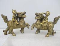 6,3 дюймов/Древний китайский Бронзовый статуя фэн шуй Кирин Лев счастливый мальчик