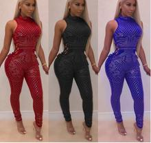 Shinily Diamonds Hollow Out Skinny Sexy Women Jumpsuits Turtleneck Sleeveless Sides Bandage Bodycon Party Romper