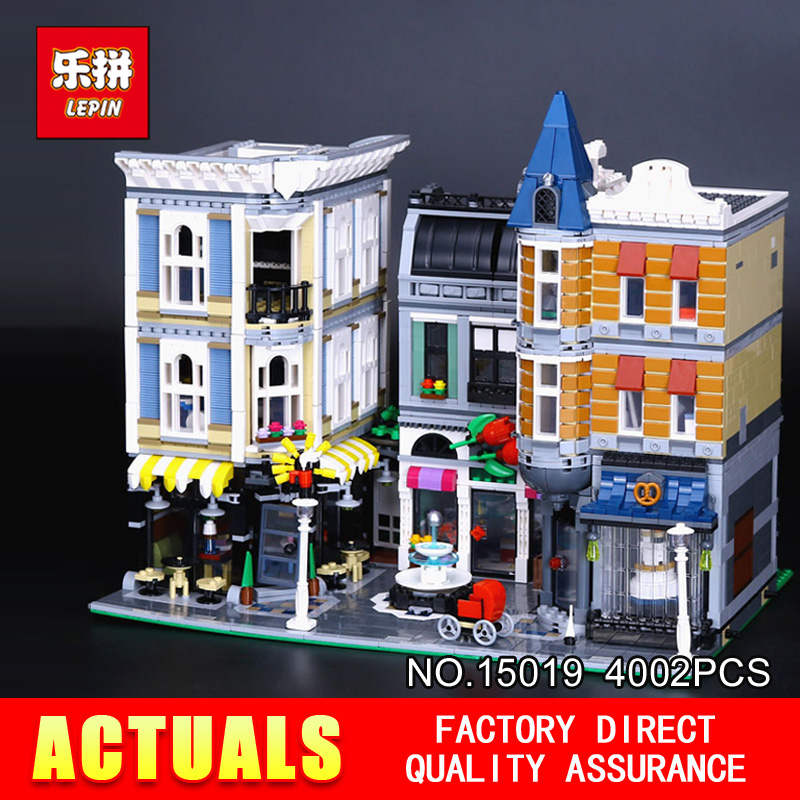 Lepin 15019 4002Pcs MOC Creative Series The Assembly Square Set Building Blocks Bricks Toy Model 10255 for Children Holiday gift in stock with light 15019b 4122pcs lepin 15019 4002pcs assembly square city serie model building kits brick toy compatible 10255