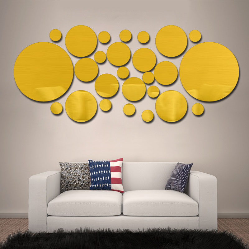 Fundecor] 3d Crystal Circle Mirror Wall Stickers Acrylic home wall ...