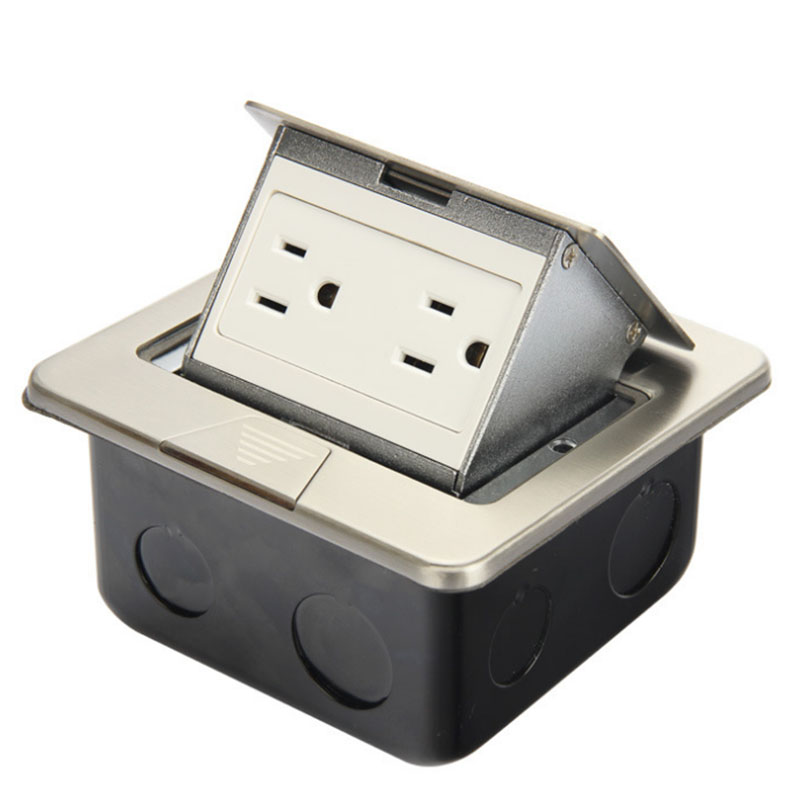 Square ultra thin pop up ground socket high quality stainless steel two standard American socket DC 036