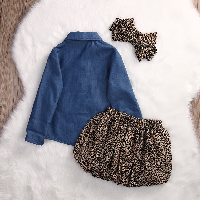 c1d4daaed83b8 3PCS Set Cute Baby Girls Clothes 2017 Summer Toddler Kids Denim  Tops+Leopard Culotte Skirt Outfits Children Girl Clothing Set