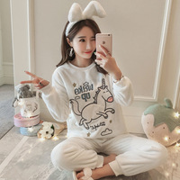 Pijama Unicornio Spring Winter Women Pyjamas Sets Thick Warm Velvet Suit Flannel Female Unicorn Costumes Animal