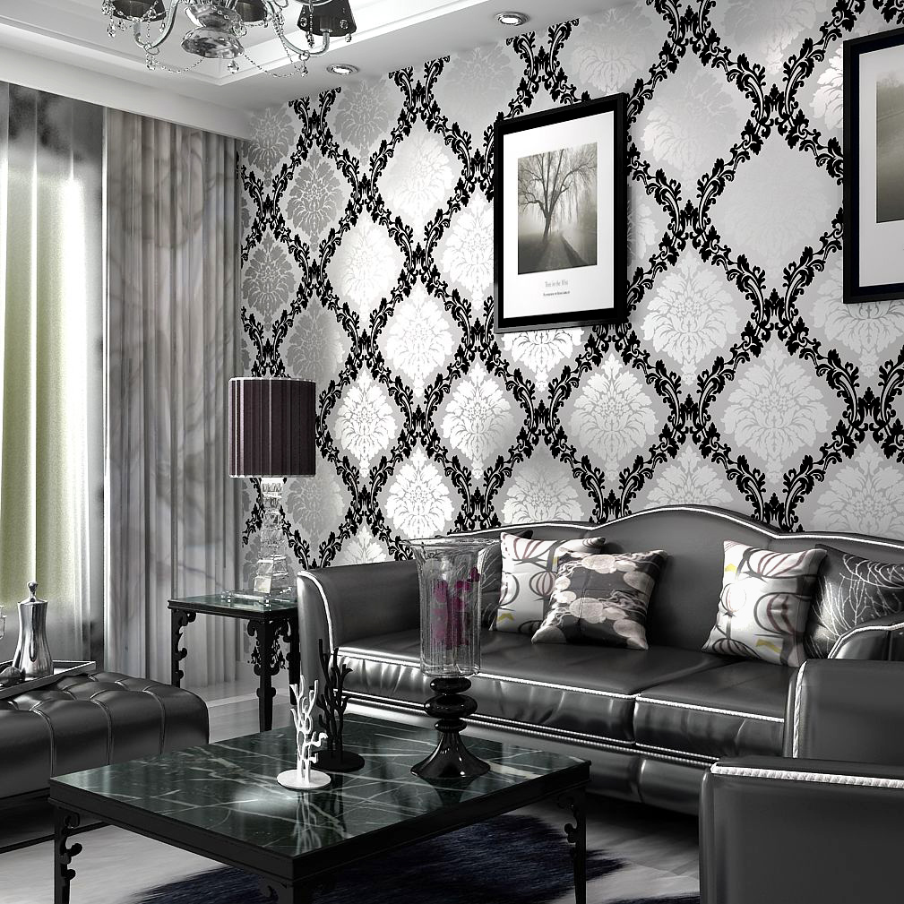 Pure paper, Wallpaper living room background wall black and white classic fashion modern fashion ...