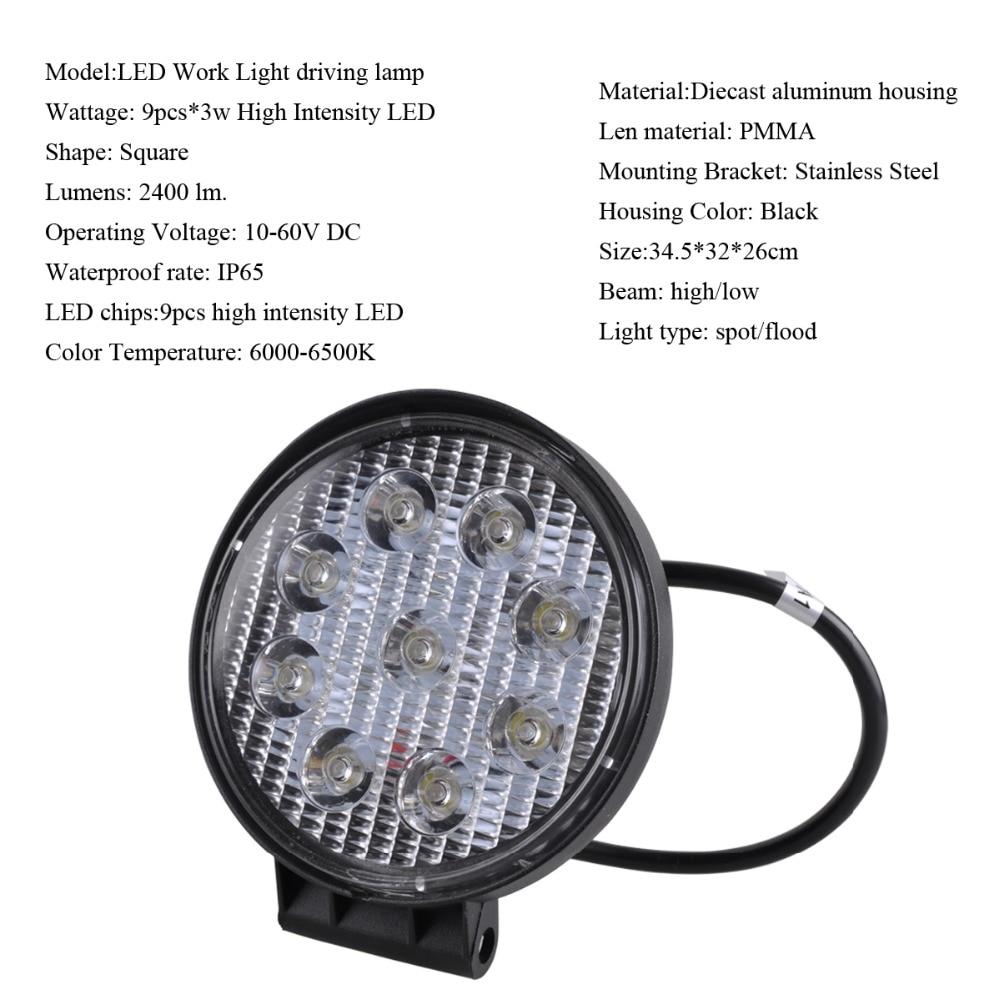 AutoEC 4 düym 27W LED Light Offroad Göstəricilər Motosiklet - Avtomobil işıqları - Fotoqrafiya 2