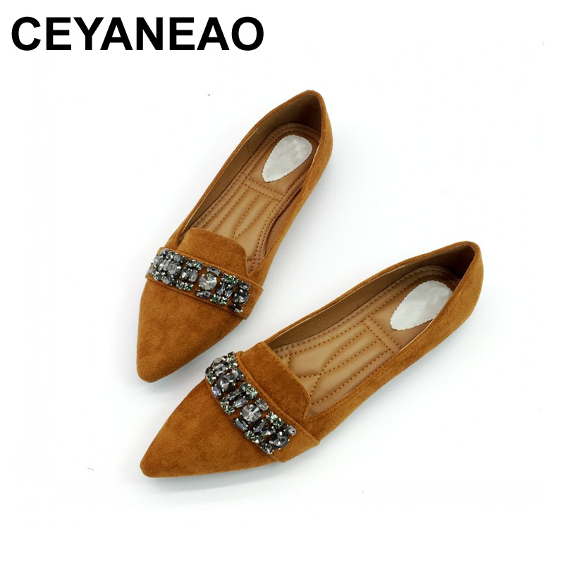 CEYANEAO Spring Autumn Women Ballet Flats Shoes Pointed Toe Slip-On Crystal Woman Single Shoes Ladies Comfortable Zapatos Mujer women pointed toe flats 2016 casual shoes female graffiti ballet flats mujer zapatos footwear for woman