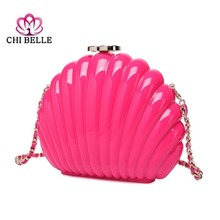 The new acrylic small sweet wind shell fan-shaped single shoulder hand joker fashion lady dinner BaoChao pearl bag chibelle
