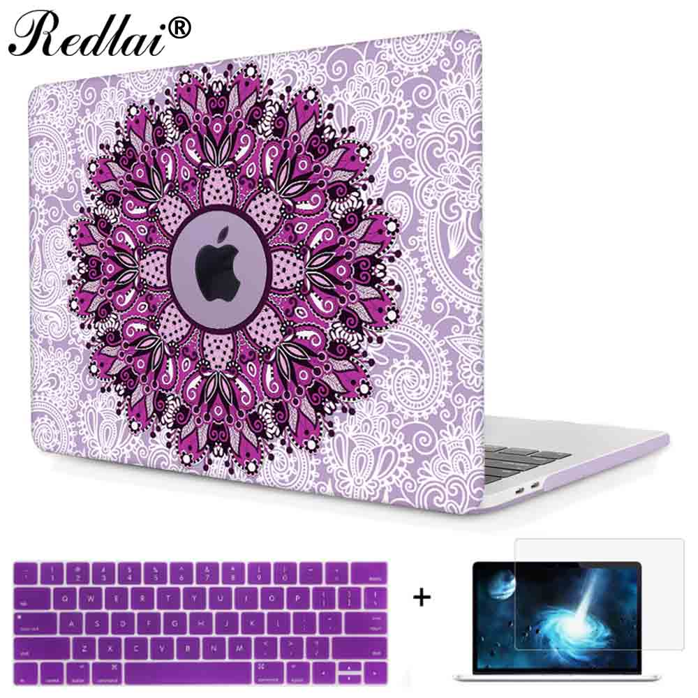 Redlai Mandala Print Hard Laptop Case For Macbook Pro 13 15 w/out Touch bar & 2016 Retina Shell Air Pro Retina 13 15 inch Cover