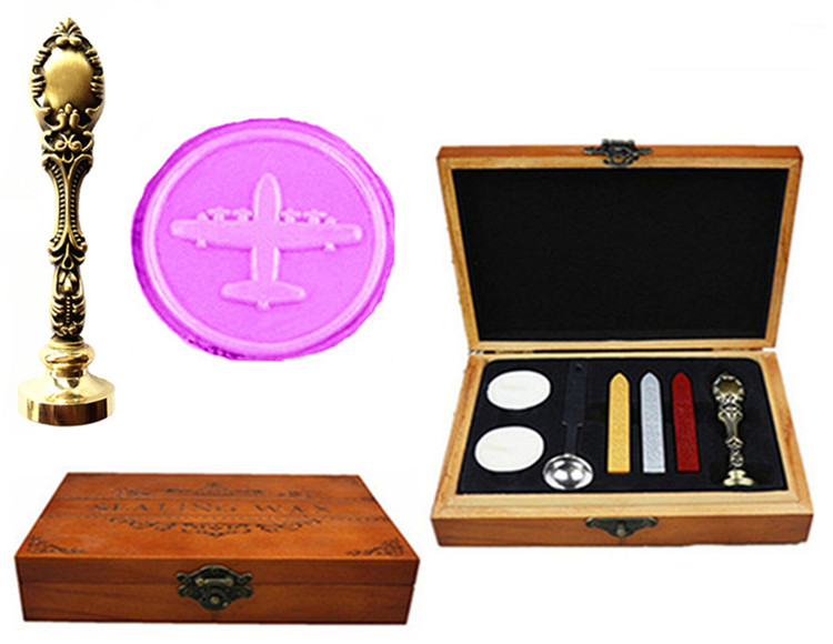 Vintage Aircraft Airplane Custom Picture Logo Wedding Invitation Wax Seal Sealing Stamp Handle Set Kit Peacock Metal Handle Set lace fower vintage wedding invitations laser cut blank paper pattern printing invitation card kit ribbons decorations