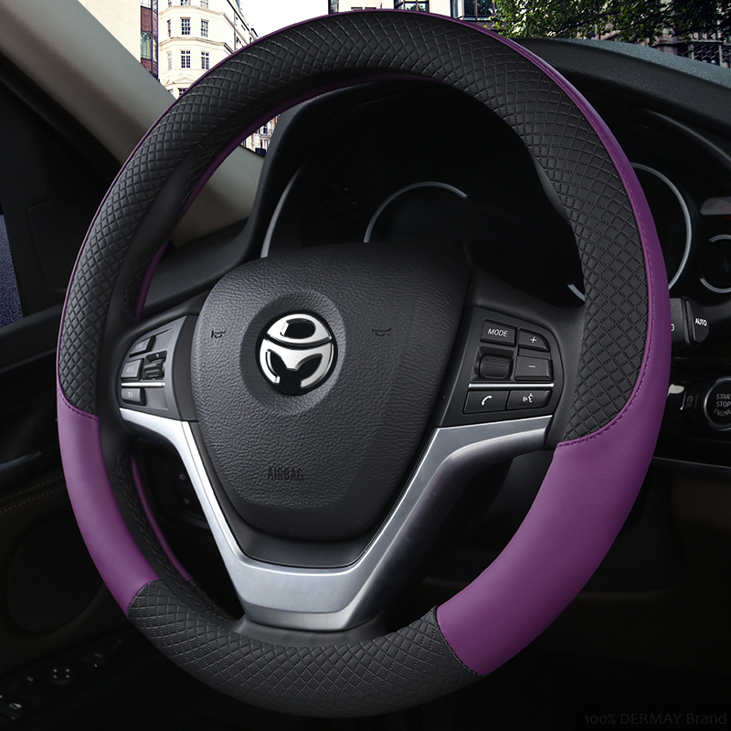 100% DERMAY Brand Leather Universal Car Steering-wheel Cover 37CM-38CM Car-styling Sport Auto Steering Wheel Covers Anti-Slip 4