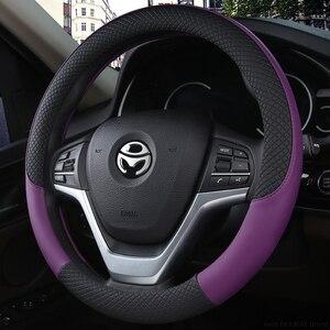 Image 5 - 100% DERMAY marka deri evrensel araba direksiyon JANT KAPAĞI 37CM 38CM araba şekillendirici spor otomobil direksiyon JANT KAPAĞI s kaymaz
