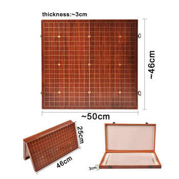 BSTFAMLY Wooden Foldable Go Chess 19 Road Chessboard 50*46*3cm Checkboard Old Game of Go Weiqi Board For 22mm Piece Checker GB06