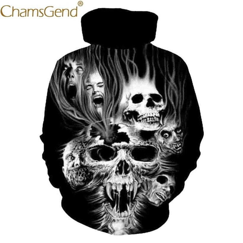 Chamsgend Hoodies Women Men 3D Sweatshirt Scary Demon Skull 3D Print Hoody Sweatshirt Black Tops 80109