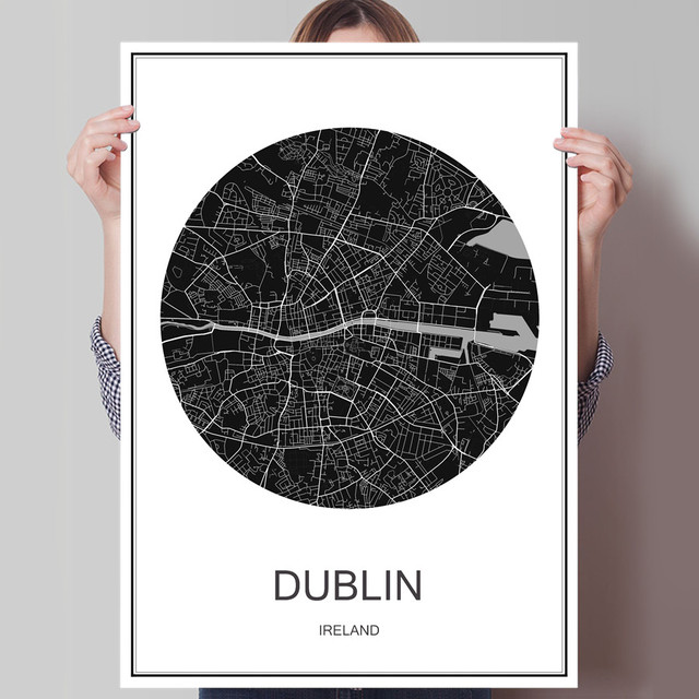 Famous dublin world city map canvas coated paper modern poster abstract print picture oil painting cafe