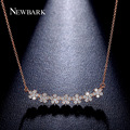 NEWBARK Flowers Charm Necklaces Women Pendants Rose And White Gold Plated With AAA CZ Necklace Jewelry Birthday Gifts For Ladies