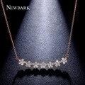 Newbark flores encanto collares mujeres colgantes de rose y oro blanco plateado con aaa cz collar de la joyería de cumpleaños regalos para las damas