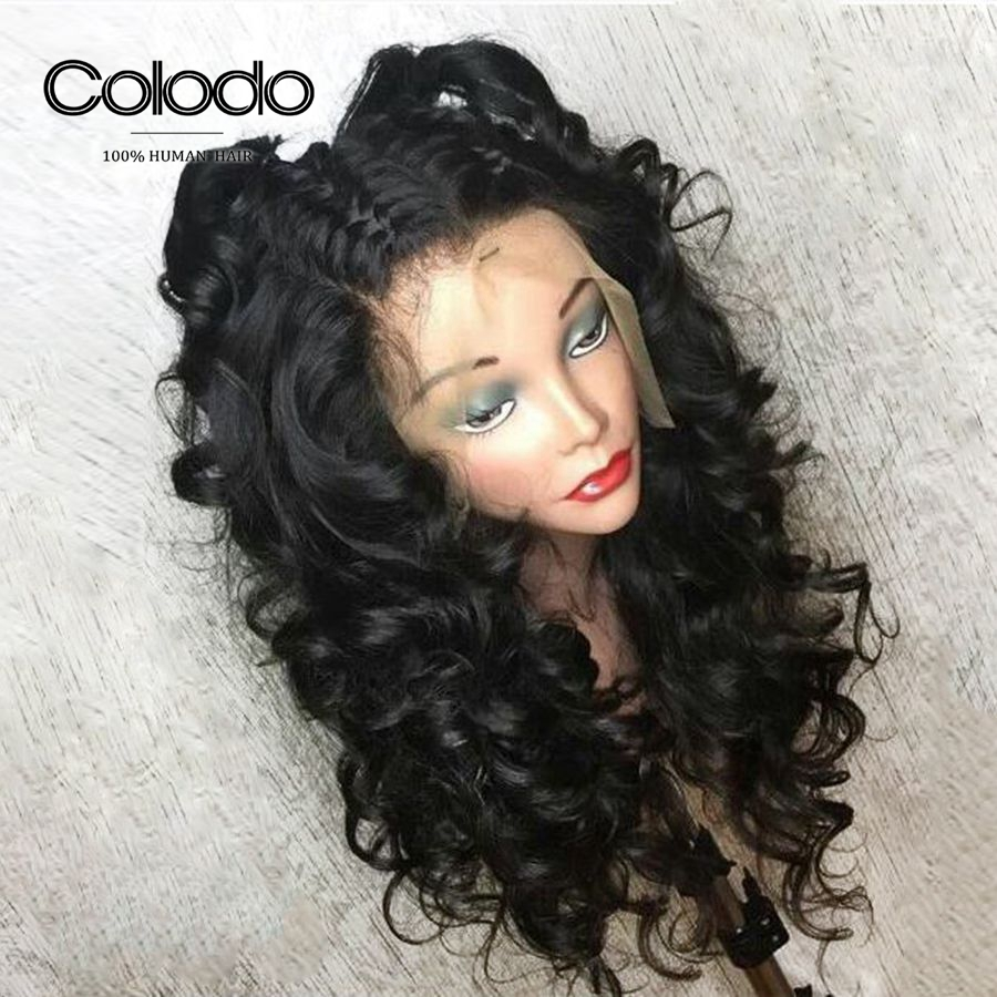 COLODO 150 Density Deep Wave Wigs for Black Women 13x6 Lace Front Human Hair Wigs Remy