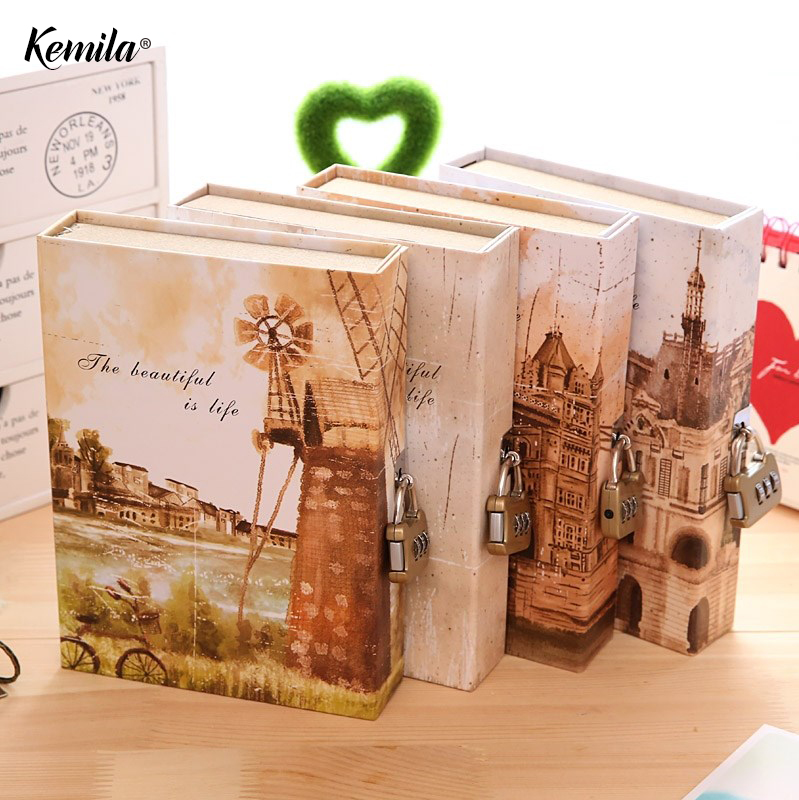 kemila Cute Creative Diary Notebook with Lock in Gift Box Personal Journal Thick Notepad Note Book Office School Notebooks diary with lock cagie cute diary cloth cover a7 mini notebook lined pages paper notebooks personal journal beautiful notepad