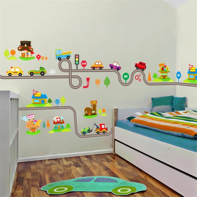 US $2.7 27% OFF|cartoon car highway track wall stickers for kids rooms  children bedroom decor pvc wall decals art diy mural boy\'s gift sticker-in  Wall ...