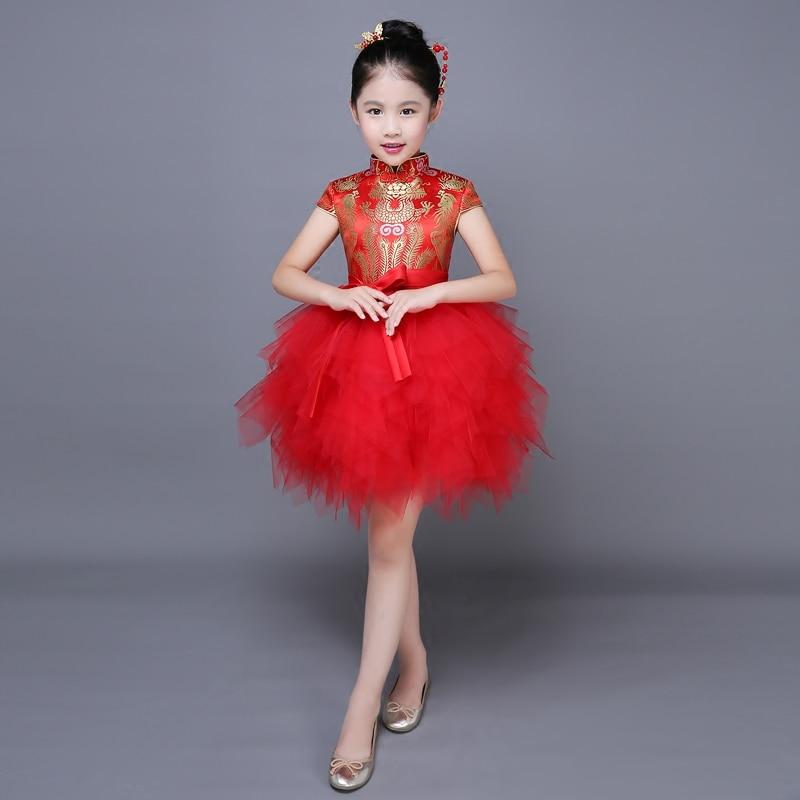 2017 autumn costume girls princess dress children's evening party dress kids chiffon lace dresses chinese qipao puff dresses uoipae party dress girls 2018 autumn