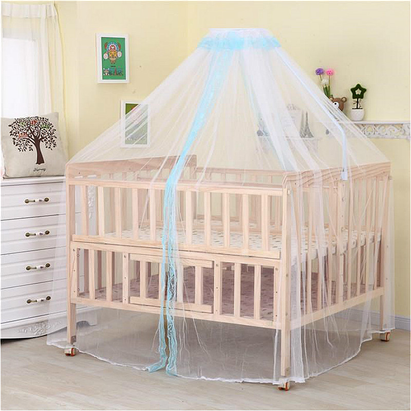 High Quality Pine Twins Newborn Bed Multi function Baby Cot Unpainted Baby Cradle Crib Children Bed Combined with Adult Bed Desk