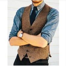 Brown Wool Herringbone Tweed Vests Slim Mens Suit Vests Custom Made Sleeveless S
