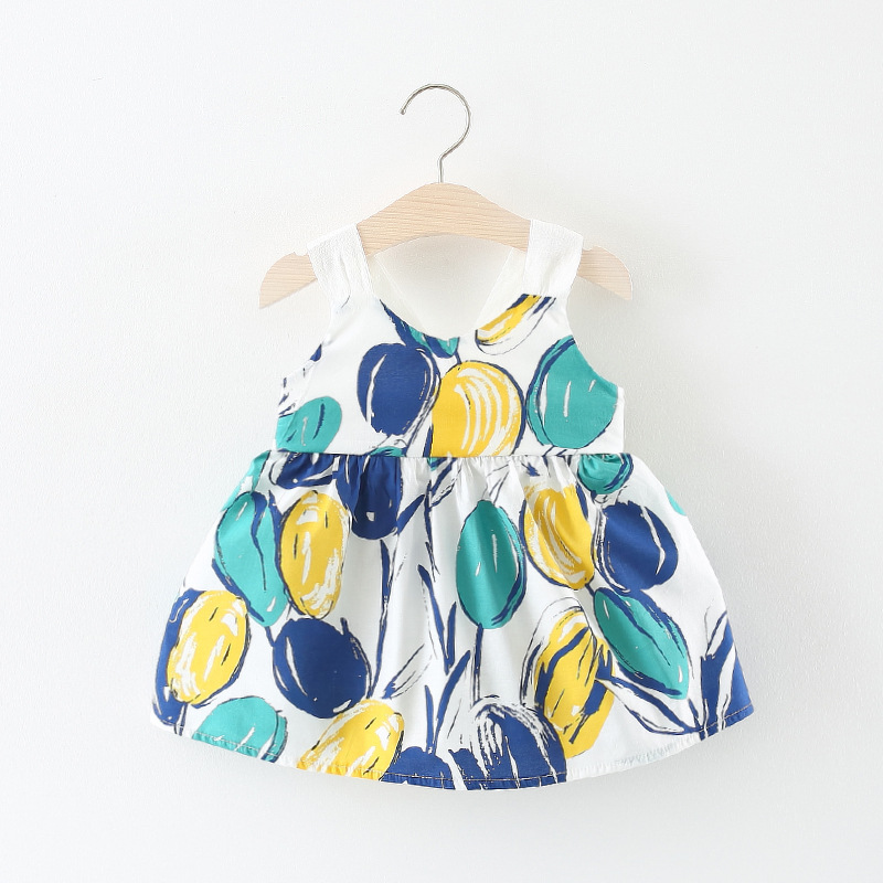 Baby Girls Dresses 2018 New Korean Summer Sleeveless Cartoon balloon Lovely Princess Dress for Infant Childrens Clothing
