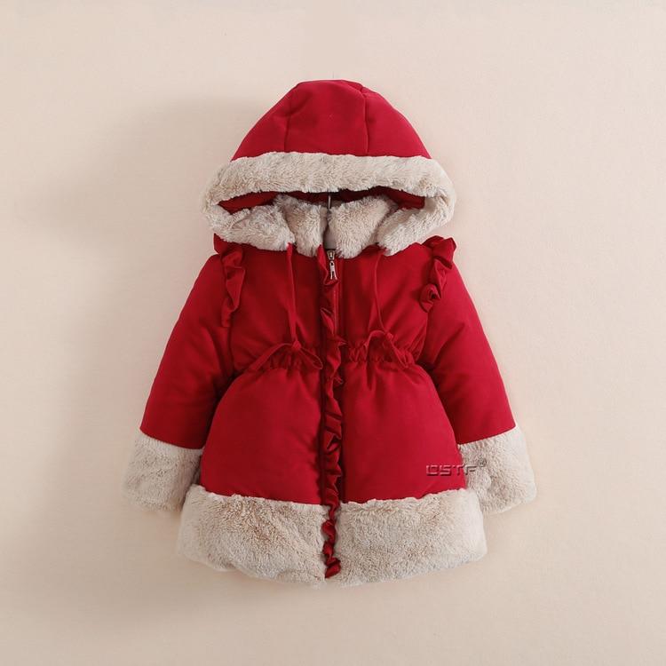 2016 Fashion Brand Baby Kids Clothing Winter Warm Cotton Padded Jacket Girls Fur Collar Hooded Princess