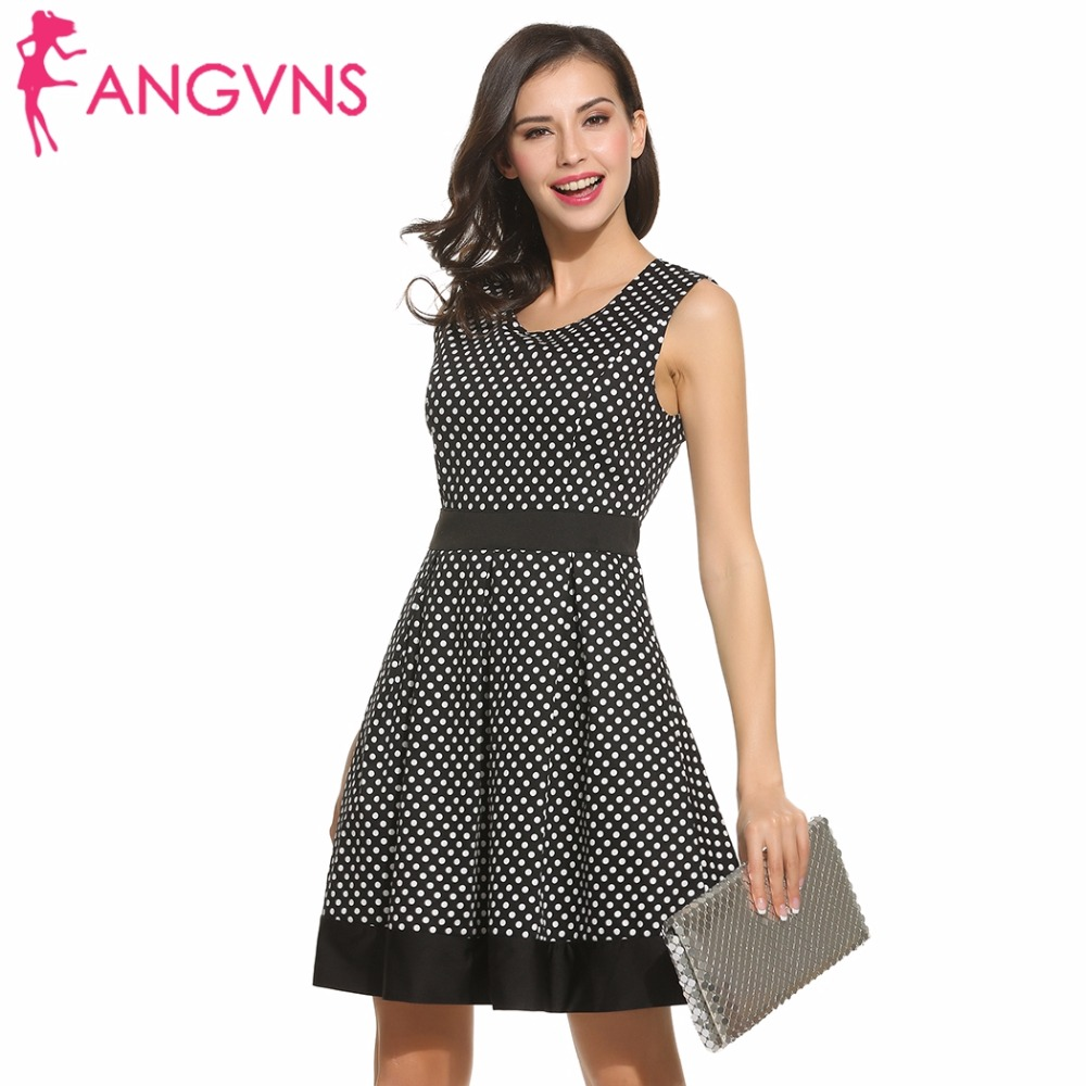 ANGVNS Dot Vintage Dress Lady Summer Retro 1950s 60s Big Swing Women Tunic Short Fit and Flare Work Dress vestidos de trabajo de