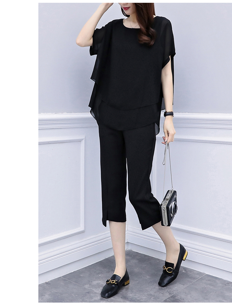 Black Red Summer Two Piece Sets Women Plus Size Short Sleeve Blouses And Cropped Pants Suits Casual Loose Women's Sets Clothing 32