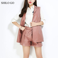 SHILO GO Leather Sets Womens Autumn OL Fashion Sheepskin Genuine Leather Suit Lapel Single Button Long