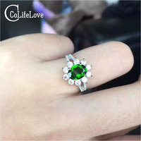 Classic natural diopside ring 925 silver green gemstone variable ring classic women party 925 silver Natural Diopside jewelry