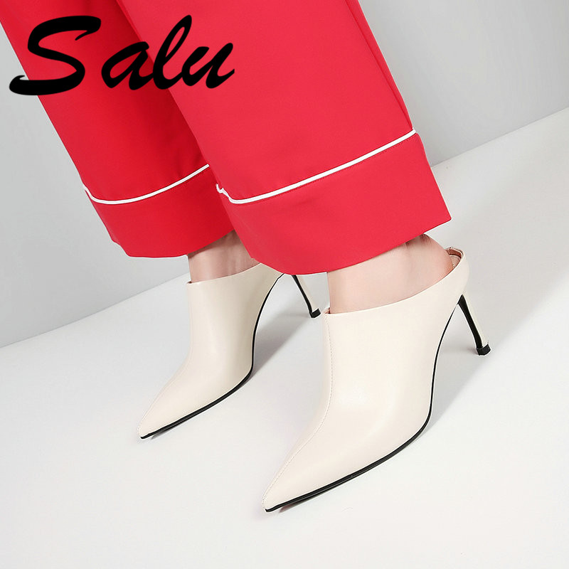 Salu Fashion Women Sandals High Quality Genuine Leather Black Colors Shoes Thin Heels Butterfly-not SandalsSalu Fashion Women Sandals High Quality Genuine Leather Black Colors Shoes Thin Heels Butterfly-not Sandals