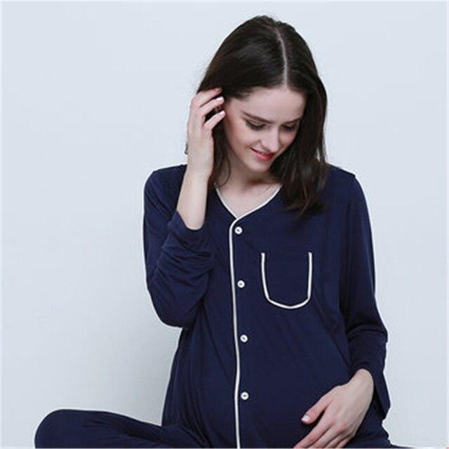 dc2d23e45c103c R$ 272.75 |Inverno Maternidade outono Roupas De Enfermagem Amamentação  Grávida Pijama Terno Sólida Quente Camisola de Algodão de Enfermagem ...
