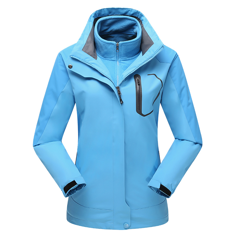 Hot Ladies Hooded Windbreaker Waterproof Outdoor Winter Jacket Women 3in1 Fleece Lining Coat Hiking Camping Jaqueta Feminina new outdoor sport windbreaker waterproof jacket men hiking camping skiing climbing winter coat fleece lining jaqueta masculino