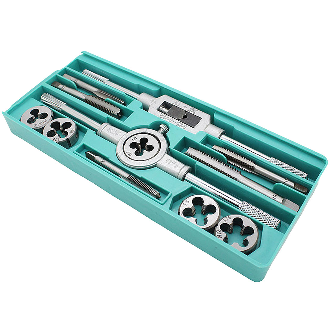 12pcs/set Multifunction NC Screw Tap & Die Set External Thread Cutting Tapping Hand Tool Kit With M6 M7 M8 M10 M12 Taps