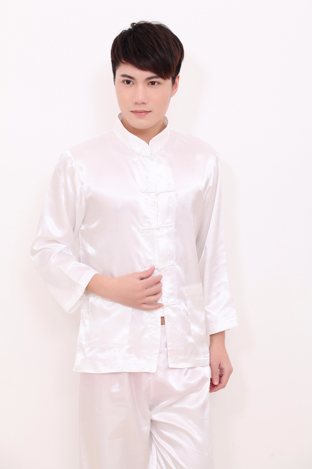 2019 White Chinese Style Men Rayon Soft Pajamas Suit Vintage Single ... 3a1eec1c5
