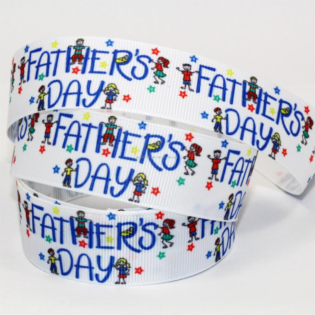 "Grosgrain Happy Fathers Day Ribbon 1/"" 25mm"