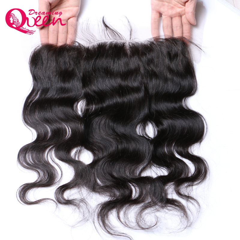 Brazilian body wave lace frontal with baby hair pre plucked 13x4 ear to ear lace frontal