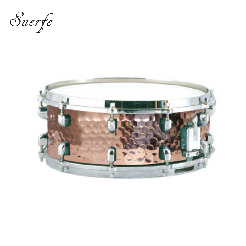 14*5.5 Hammered Copper Snare Drum Polyester Drumhead High Quality Metal Drums Percussion Instrumentos Musicais Profissionais 14 inch double tone afanti music snare drum sna 109 14