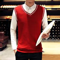 ZEESHANT Mens Pullover Sweater Vest V Neck New Sweater Cotton Knitted Plus Size Slim Class Vest