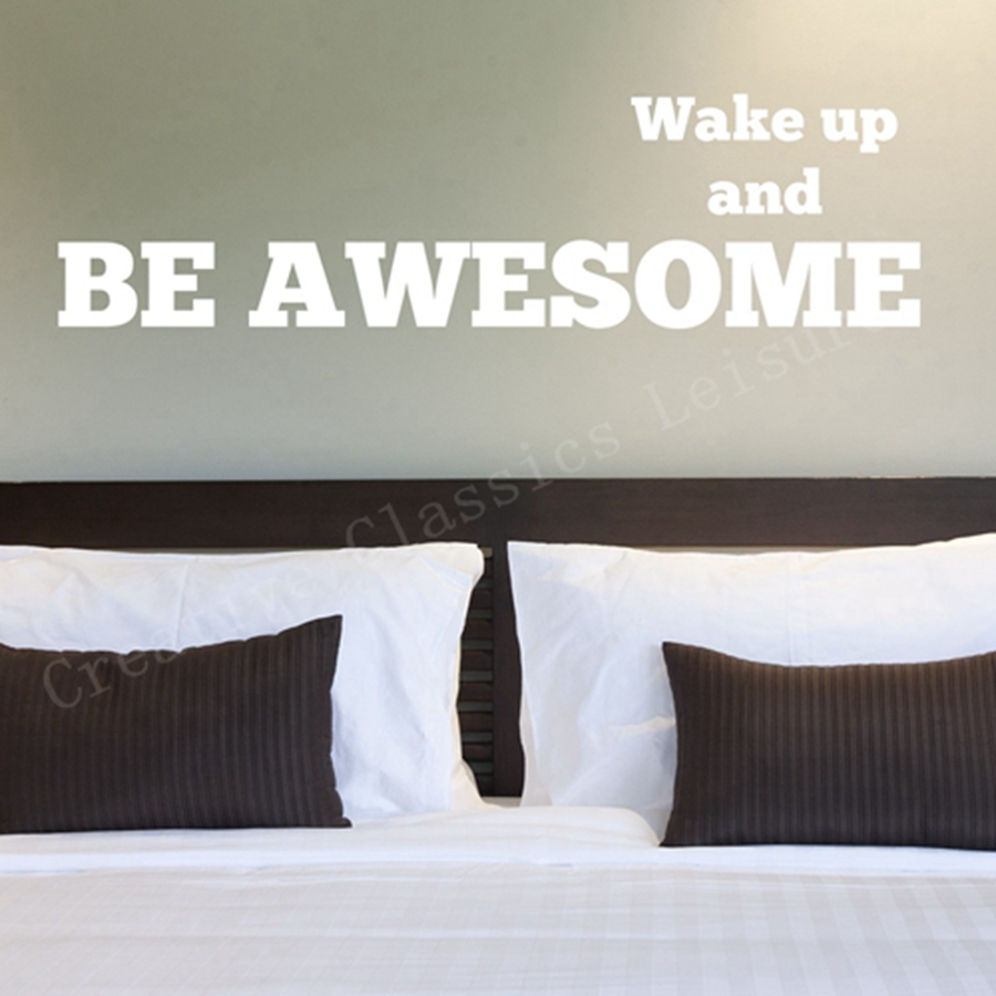 Wall stickers for bedrooms quotes - Free Shipping Large Size Bedroom Wall Decal Words Wake Up And Be Awesome Inspiration Quote Phrase