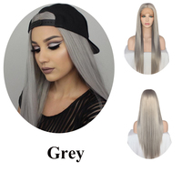 Lvcheryl Hand Tied Natural Long Silky Straight Silver Grey Color High Density Heat Resistant Synthetic Lace