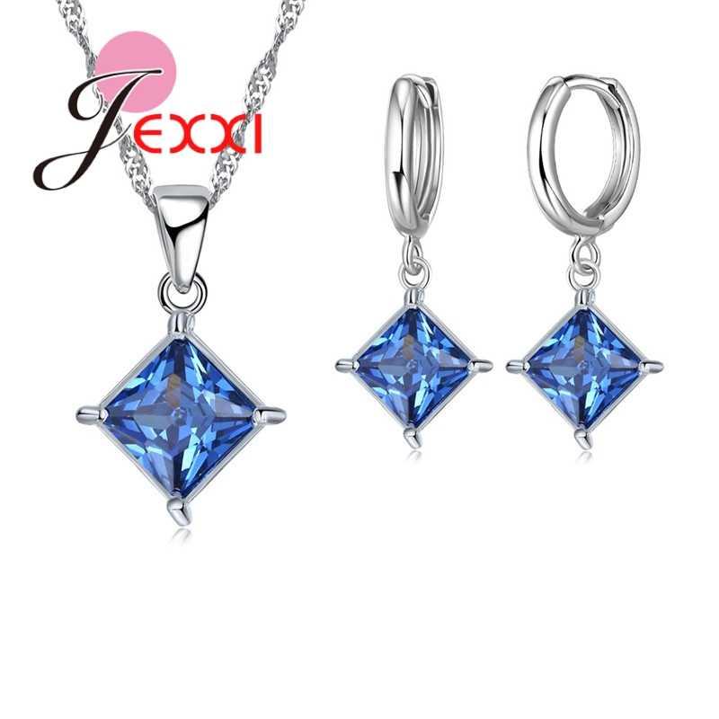 Neue Mode-Quadrat-Form Funkelnden Halskette Ohrringe Sets Elegante Einfache Stil 925 Sterling Silber Für Mädchen Party Hochzeit Geschenk