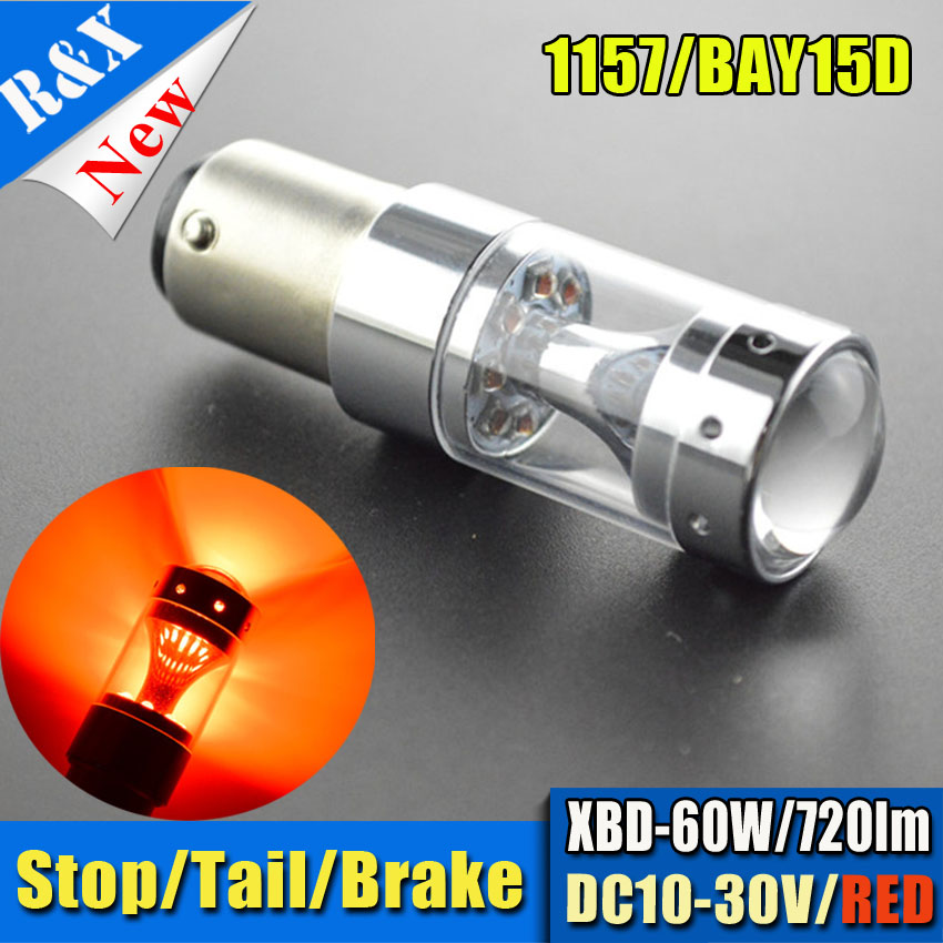 2pcs 1157 bay15d p21/5w High Power 60W XBD LED Car Tail Brake Lights Red White Amber Driving Lamps 12-XBD DC 12~24V