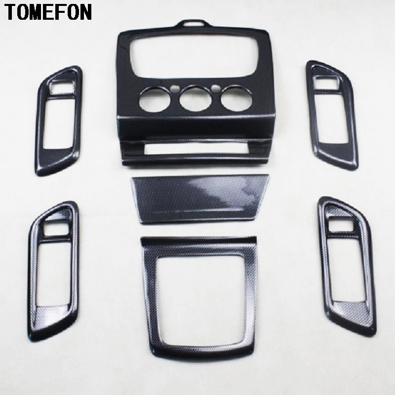 TOMEFON 7PCS For Ford Focus 2009 2010 2011 ABS Carbon Fiber Paint Inner Door Handle Console Gear Shift Cover Trim MT ONLY for ford mustang 2008 2009 2010 2011 2012 2013 add on style carbon fiber rear view mirror cover black finish