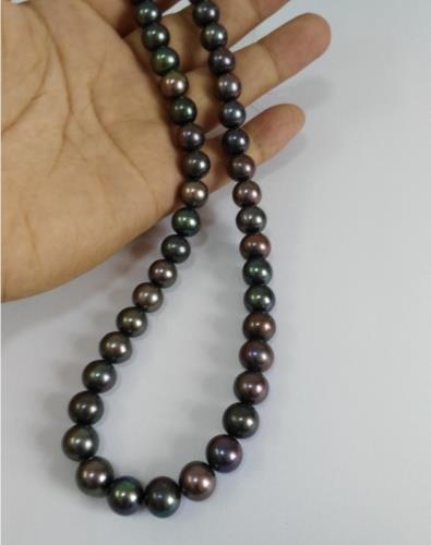elegant 9-10mm natural south seas black pearl necklace 18inch цена